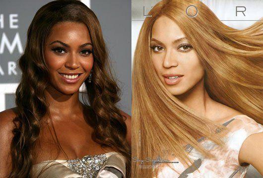 Beyonce avant et après retouche photo: 3 teints plus clair