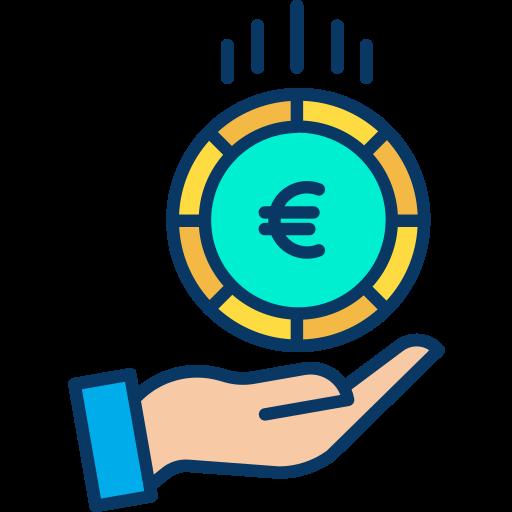 Illustration: une main tenant une pièce euro.