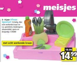 Speelgoedafwassetje, met aanduiding 'meisjes' op een roze achergrond.