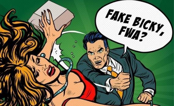 Advertentie voor Bicky Burger 'Fake Bicky, FWA?' toont man die vrouw in het gezicht slaat omdat ze geen echte bicky burger voor hem mee bracht.