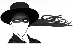 tekening van een gemaskerd gezicht met een Zorro-hoed en wapperend haar