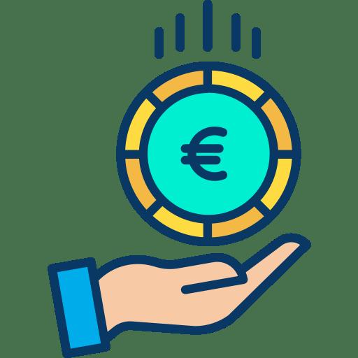 Tekening van een euromuntstuk met een hand eronder