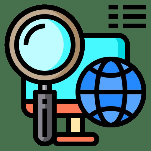 Tekening van een vergrootglas, een beeldscherm en een wereldbol