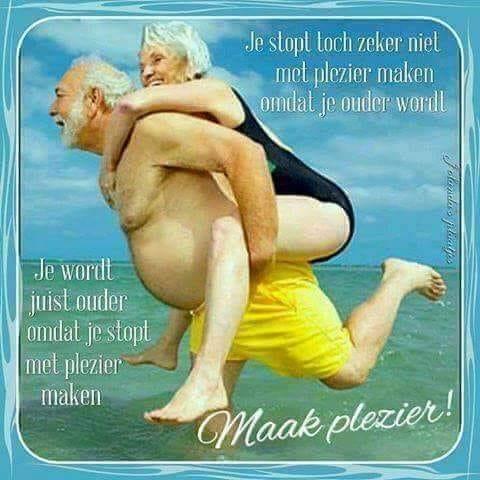 Illustratie van een ouder koppel in zwempak in de zee. De man draagt de vrouw op zijn rug. Ze hebben er plezier in.